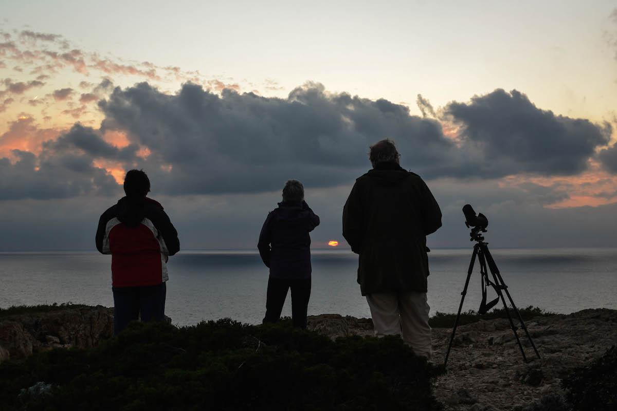 Pôr-do-sol de Outono no Cabo S. Vicente, depois de um dia de observação de aves. Foto: Nuno Barros