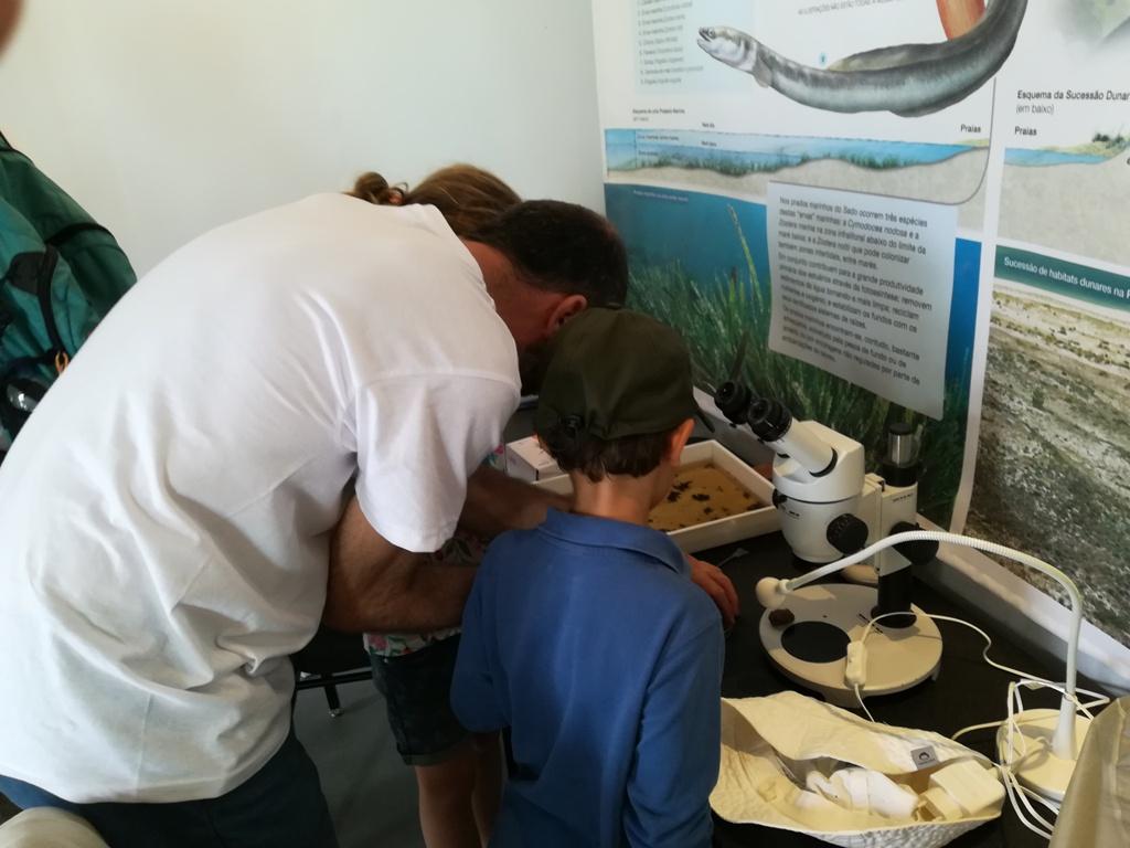 um-rapaz-e-um-adulto-estão-de-costas-voltadas-para-o-fotógrafo-ao-pé-de-um-microscópio