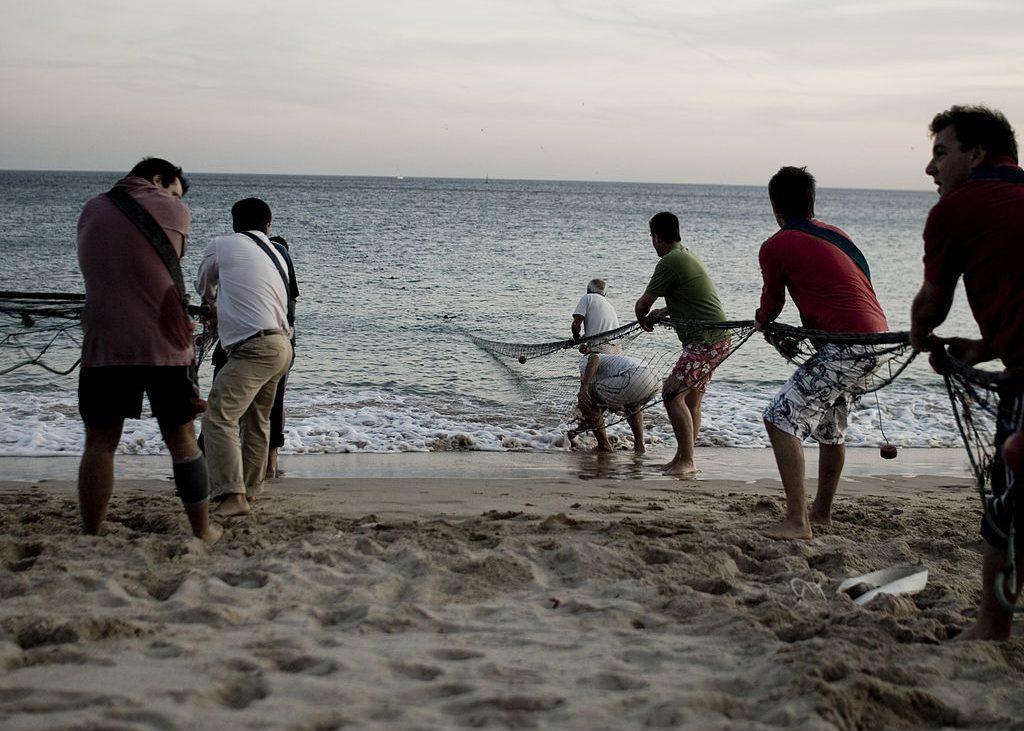 dois grupos de pescadores na praia puxam redes de pesca de dentro do mar