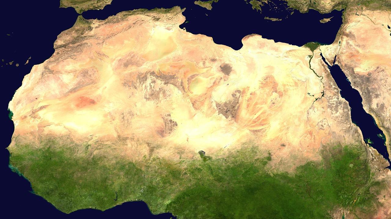 mapa com o deserto do sahara